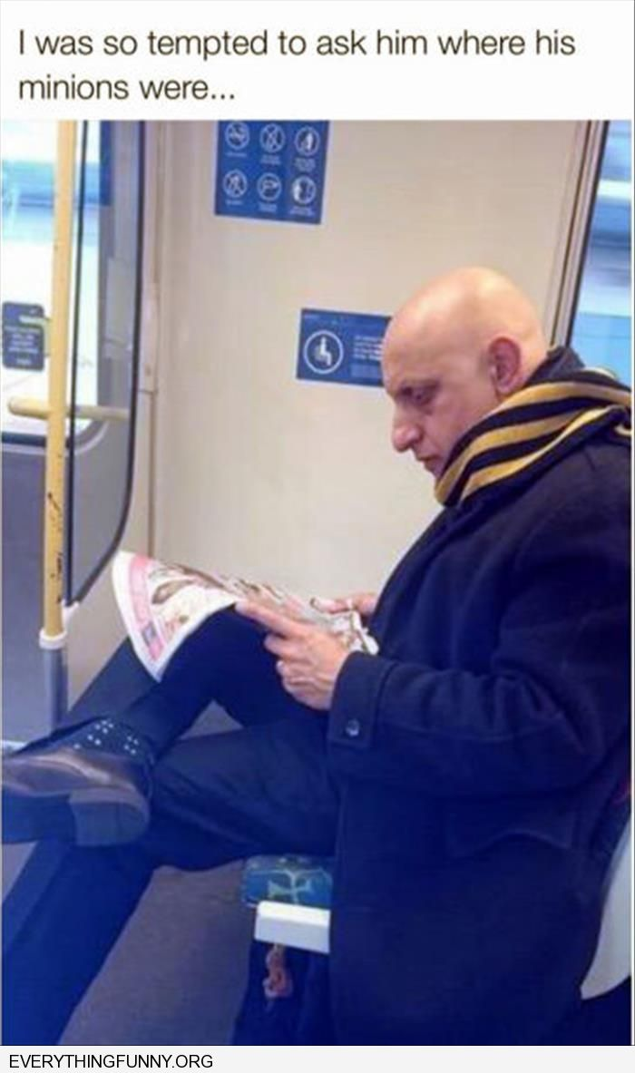 funny caption guy on subway looks like guy from despicable tempted to ask where his minions are