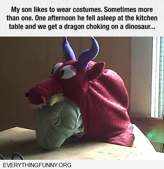 funny little boy falls asleep with two costumes on looks like dragon choking on dinosaur