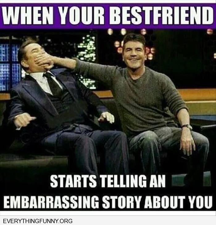 funny caption when our best friend starts telling an embarassng story about you simon cowell covering his friends mouth