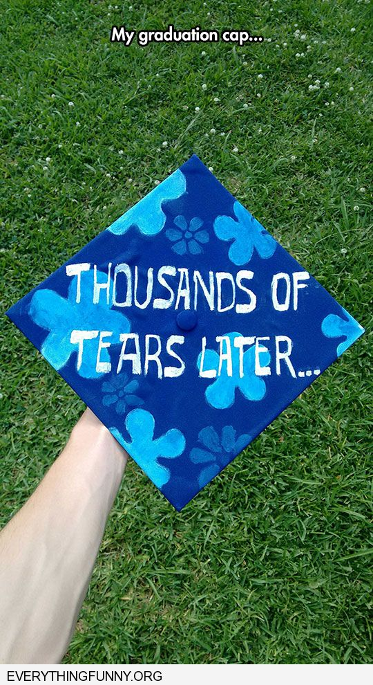 funny graduation cap spongebob squarepants painted thousands of years later