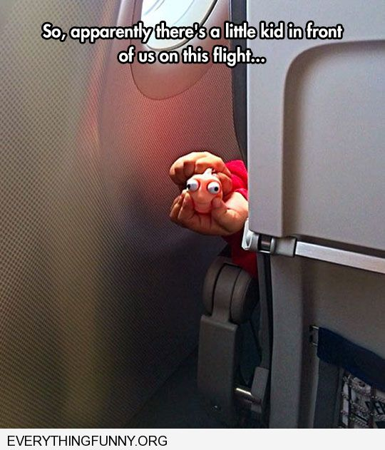 funny caption so apparently there a little kid in front of us on this flight squeezing an adorable nemo in their face