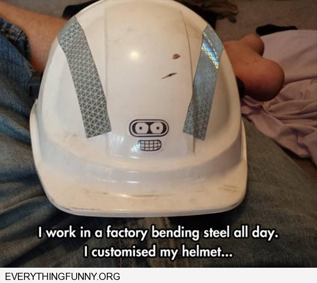 funny construction hat for metal bender put futurama bender face on it