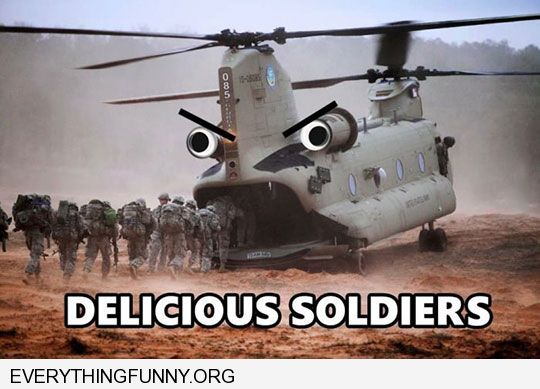 funny caption helicopter looks like it is eating soldiers