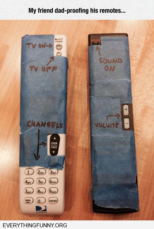 funny friend covers all uneeded buttons on remote for his father