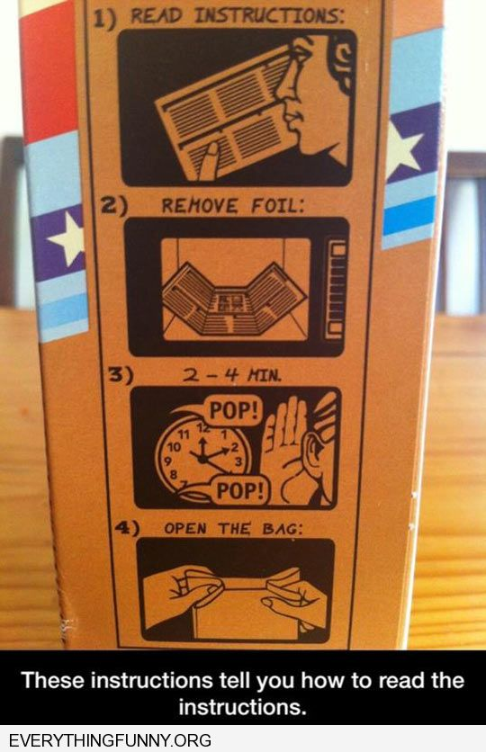 funny opocorn instructions tell you to read instructions
