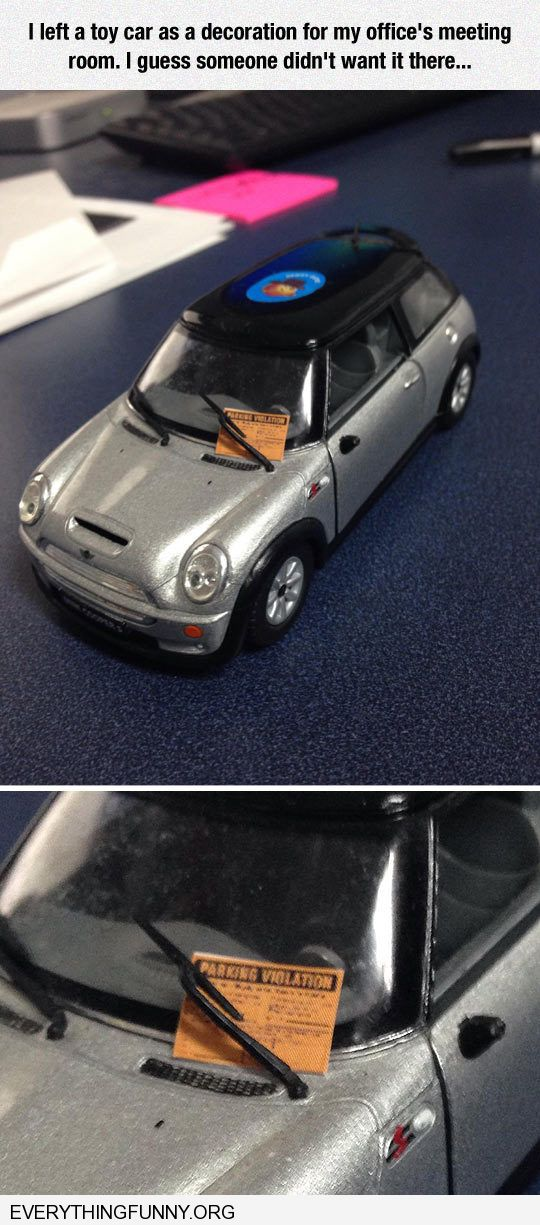 funny someone gives minature car a miniature ticket