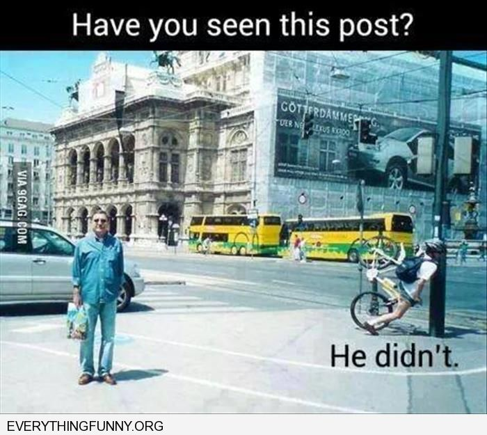 funny did you see this post he didn't guy bicycle hits lamp post