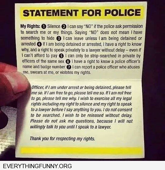funny statment for police reminder of our rights