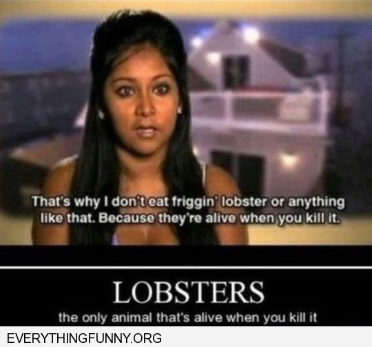 funny caption snooki doesn't eat lobster because they're alive when you kill it