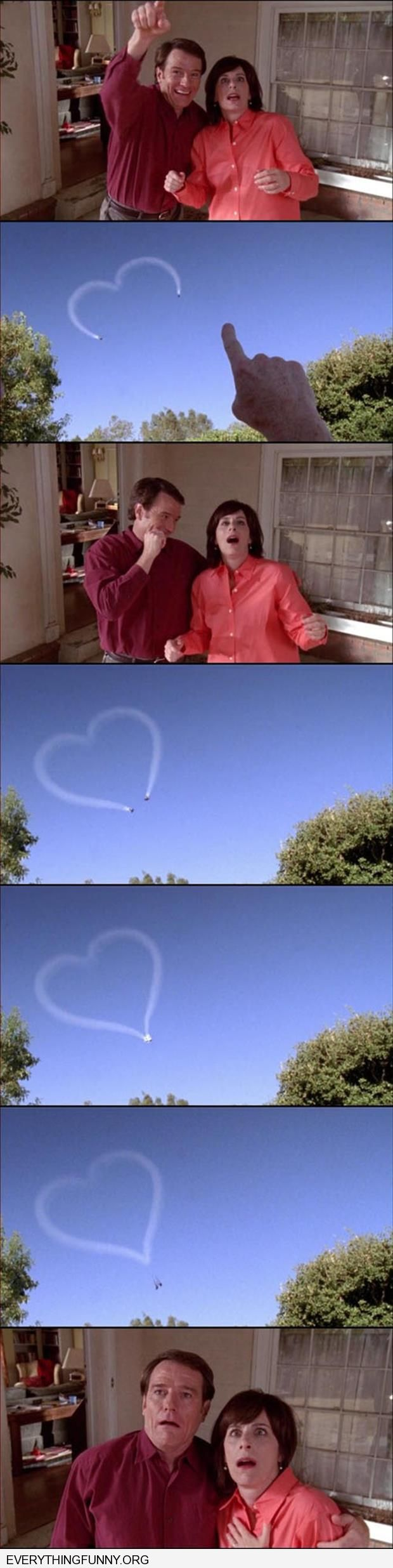 funny caption malcolm in the middle two planes making heart skywriting crash