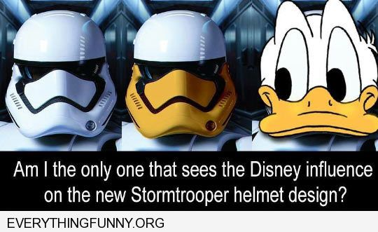 funny caption disney influence on star wars stormtrooper helmet looks like donald duck