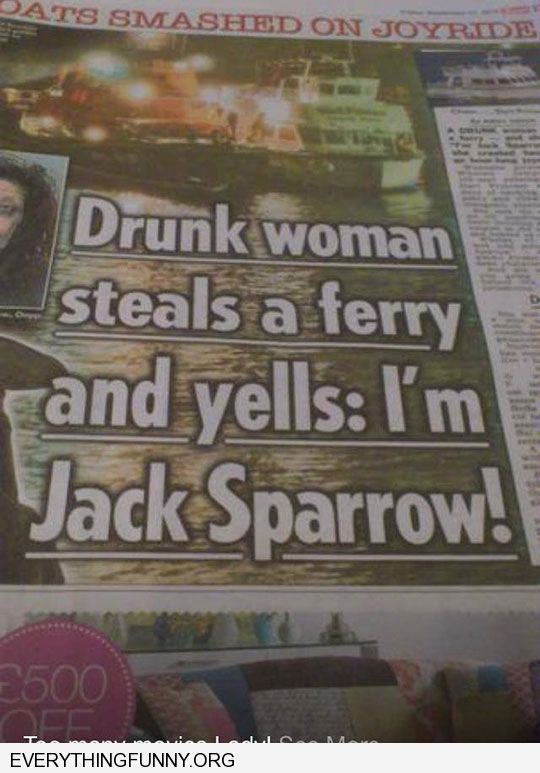 funny headline drunk woman steals a ferry and yells i'm jack sparrow
