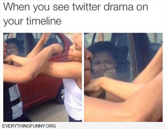 funny caption when you see twitter drama on your timeline
