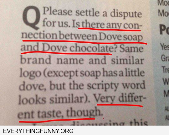 funny is there any difference between dove chocolate and dove soap similar logo very different taste though