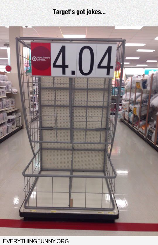 funny caption targets got jokes 404 not found empty shelves