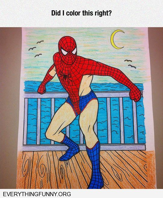 funny did i color this spiderman picture in right funny sexy underwear