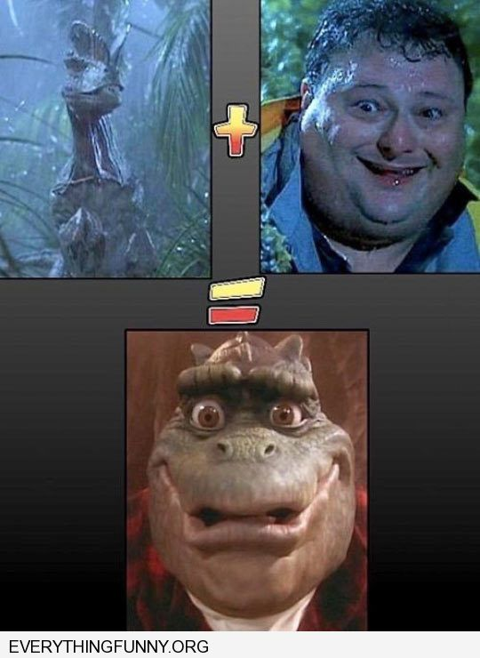 funny caption jurassic park dinosaur mixed with guy equals show dinosaur father