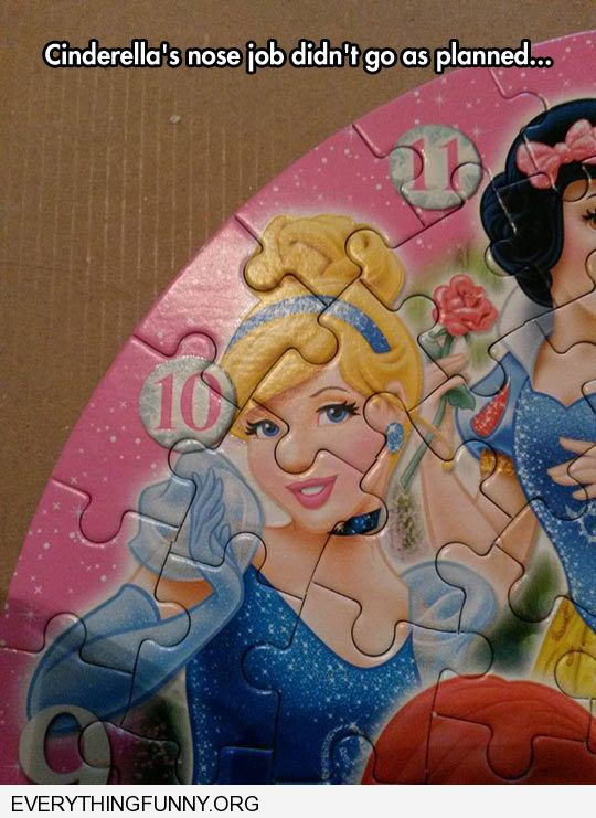 funny puzzle makes cinderella's nose looks huge nose job didn't go as planned
