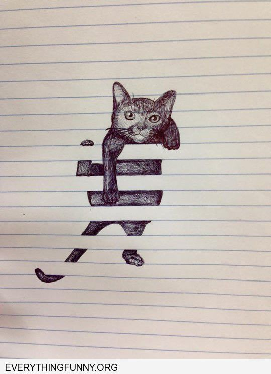 funny caption picture drawing awesome doodle lined paper cat