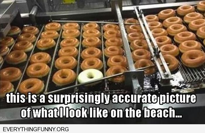 funny caption one white donut among all brown donuts surprisingly accurate picture of me at the beach