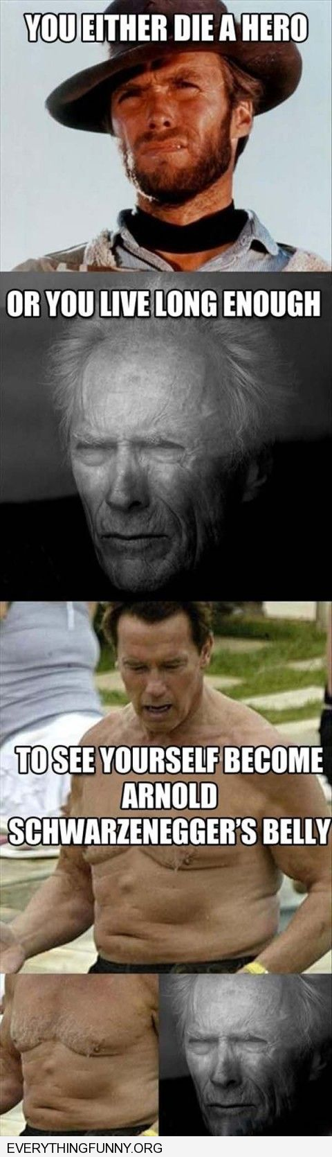 funny caption arnold schwarzeneggers stomach looks like clint eastwoods face