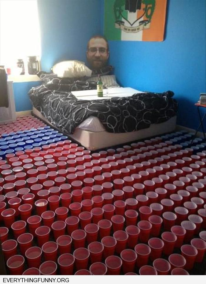 funny college roommates suck cups of water all the way towards bed
