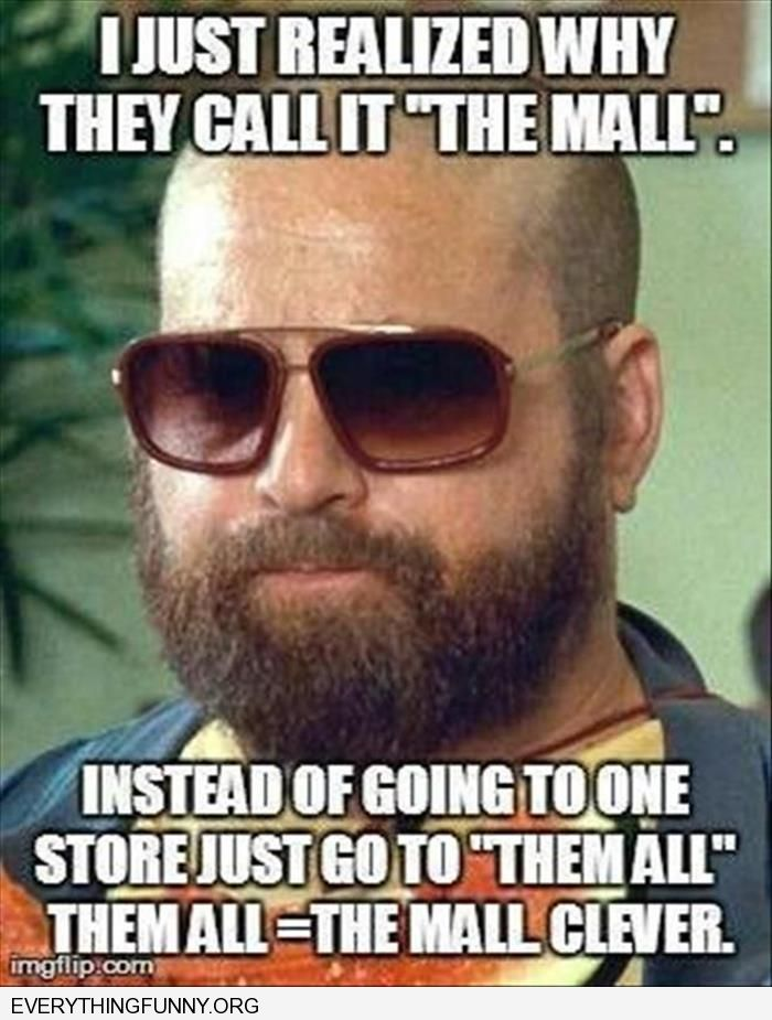 funny caption why they call it the mall instead of going to one store going to them all