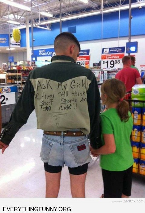 funny dad tries to prove point wearing short shorts to embarrass his daughter so she won't