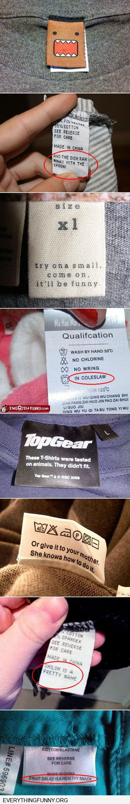 funny caption funny care labels tags on clothes