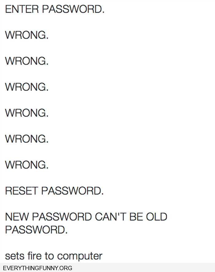 funny caption the trauma in resetting passwords set computer on fire