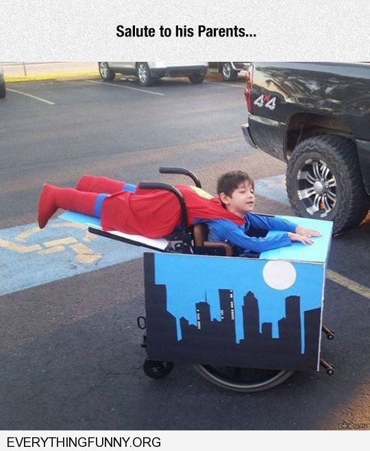 funny caption awesome parents make flying superman costume for son in wheelchair