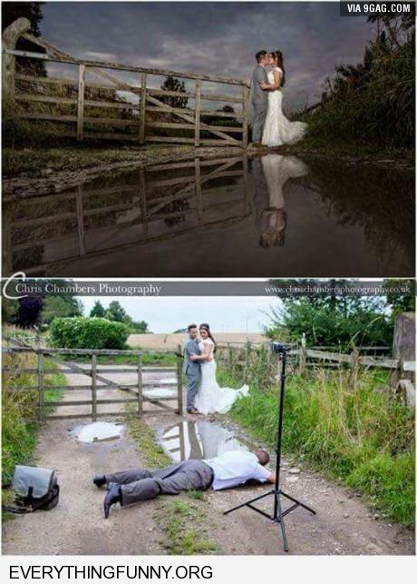 funny optical illusion looks like weddng couple in front of lake really puddle photographer on ground