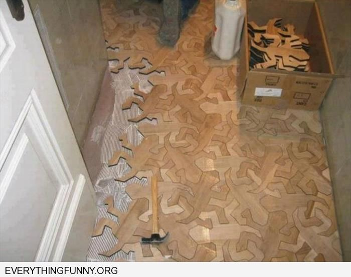 funny caption floor made of little wooden men puzzle pieces