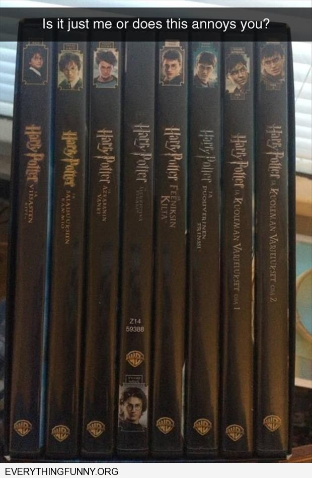 funny harry potter collection one upside down does this bother anyone else