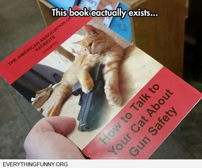 funny caption this book actually exists how to talk to your cat about gun safety
