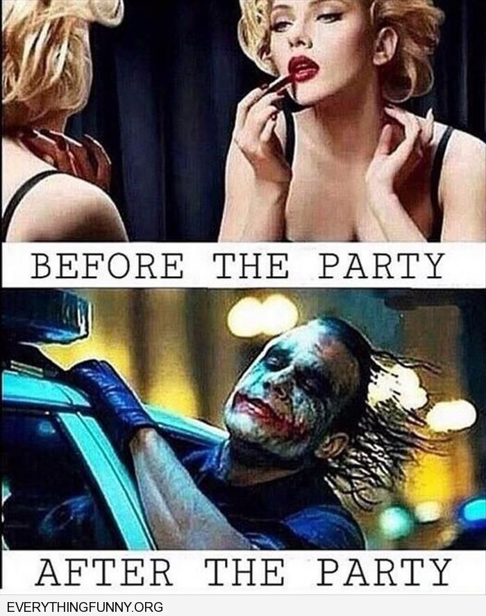 funnycaption makeup before party looks like joker after party