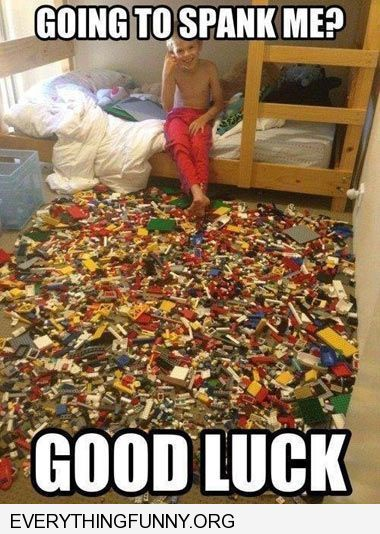 funny caption you want to punish me good luck filled floor in room with legos