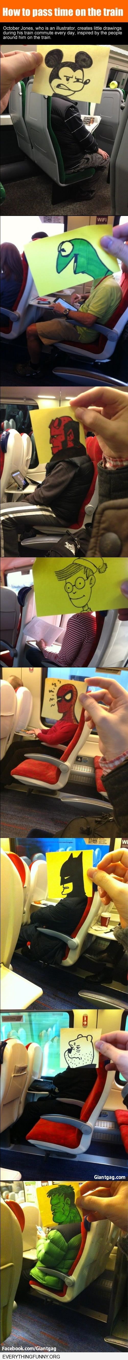 funny caption guy draws heads and puts them on peoples bodies on plane to entertain himself