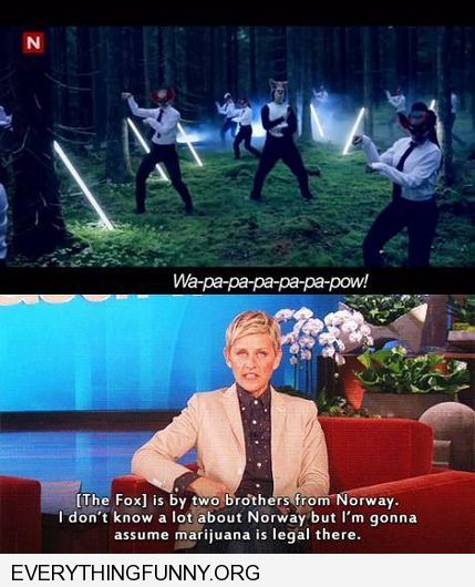 funny ellen degeneres what does the fox say obviously marijuana is legal