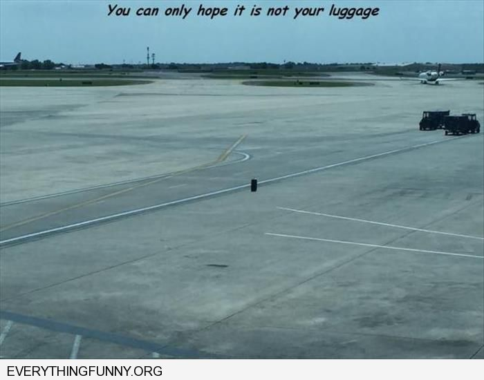 funny one piece of luggage left on tarmac you can only pray it is not yours