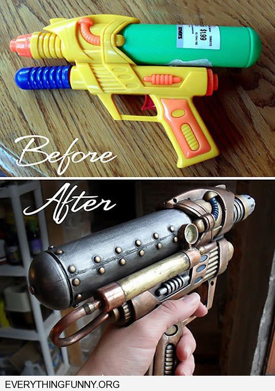 funny caption awesome transformation of water gun futuristic weapon