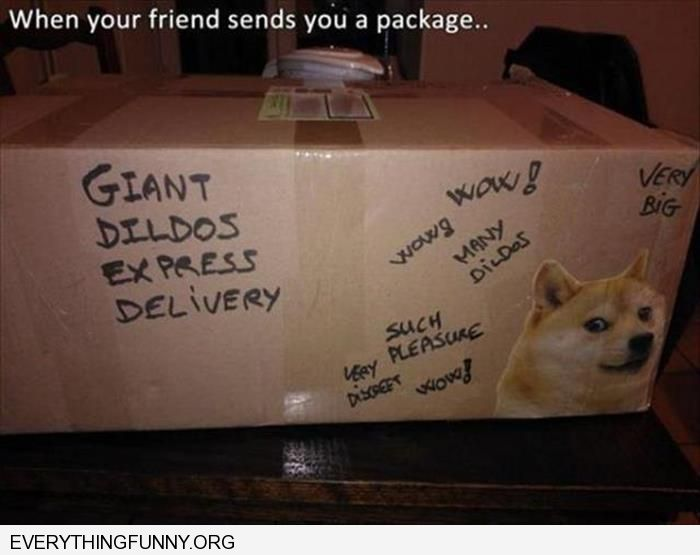 funny caption when your friend sends you a package giant dildos inside written on outside