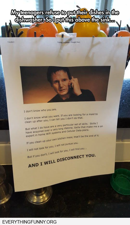 funny parent liam neeson threat to kids washing dishes