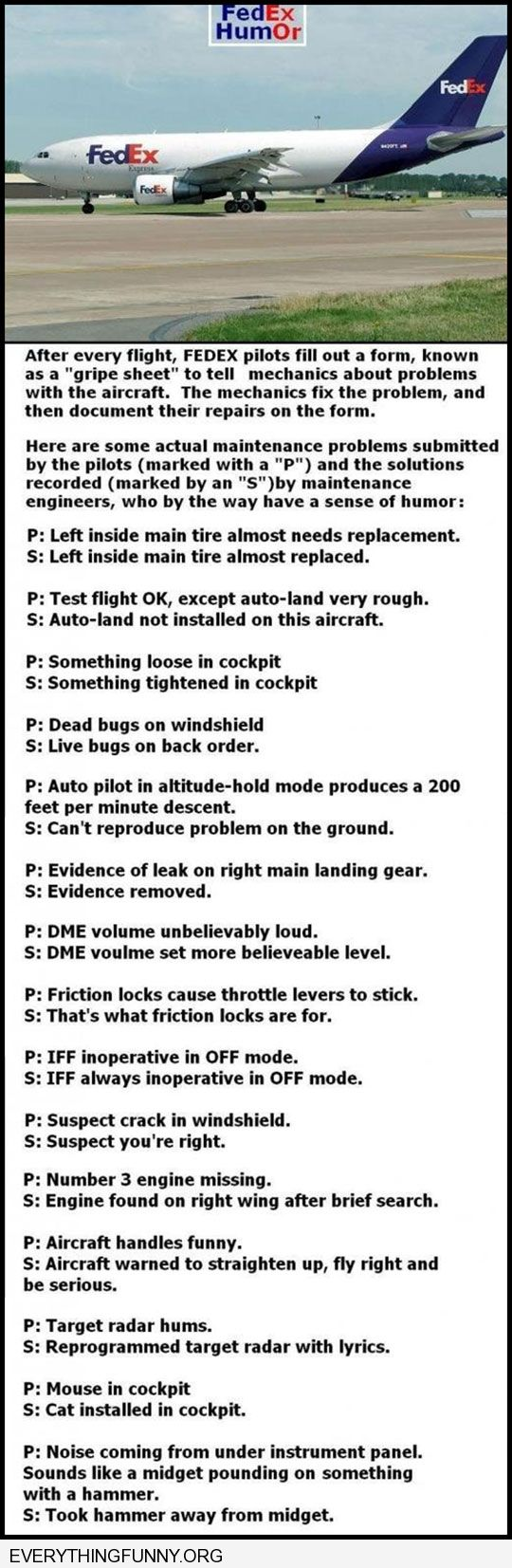 funny caption funny answers given my federal express airplane mechanics