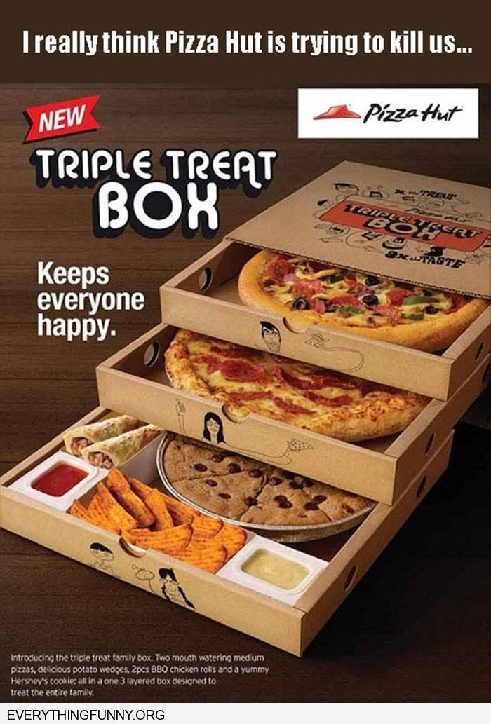 i think pizza hut is trying to kill us triple threat box all the junk food they can fit