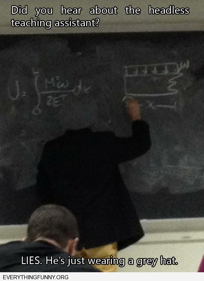 funny picture teacher looks headless hat matches blackboard perfectly