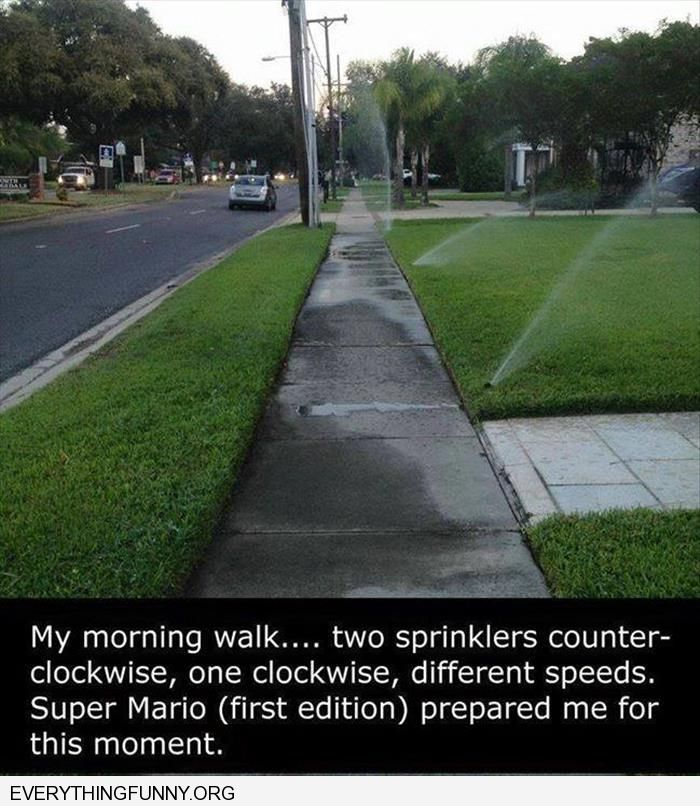 funny sprinkler obstacle course super mario prepared me for this