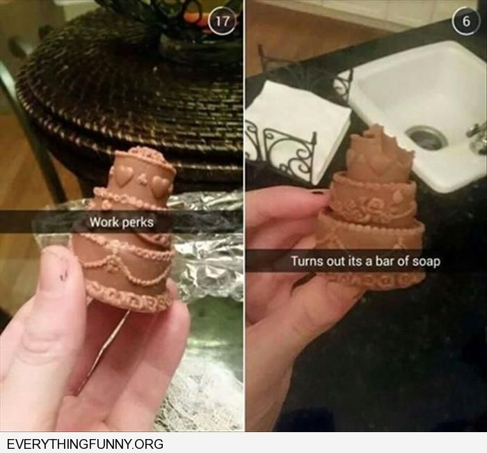 funny work perks wedding cake chocolate ends up it is soap