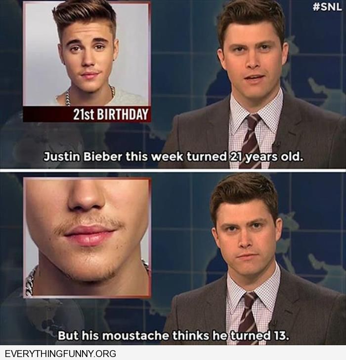 funny caption justin beiber turned 21 his moustache turned 13