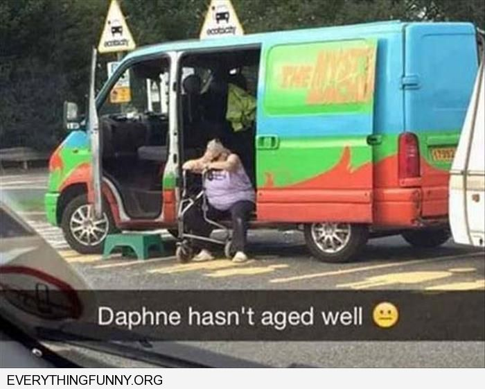 funny caption older woman sitting in mystery machine daphne did not age well